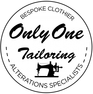 Only One Tailoring logo showing a sewing machine and bespoke clothier alterations specialists